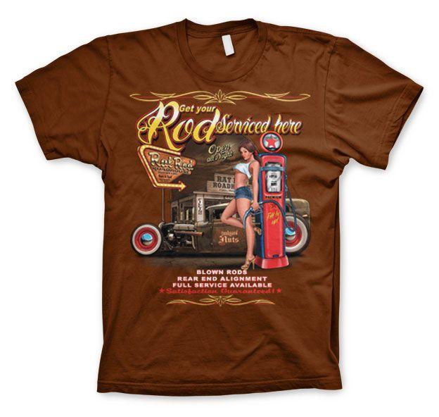 Stylové pánské triko s humorným potiskem Get Your Rod Service Here