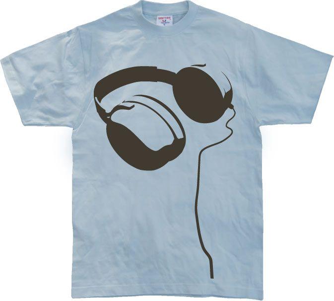 Stylové pánské triko s humorným potiskem Headphones Allover