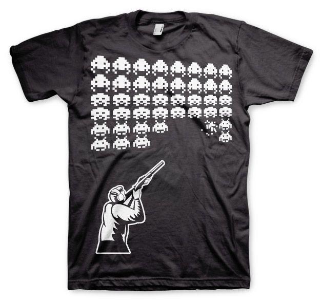 Stylové pánské triko s humorným potiskem Hunting Invaders
