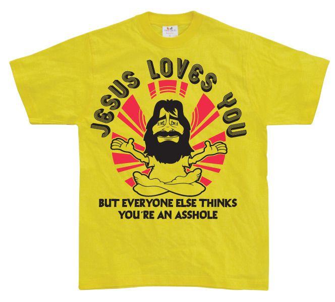Stylové pánské triko s humorným potiskem Jesus Loves You, But Everybody Else