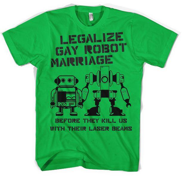 Stylové pánské triko s humorným potiskem Legalize Gay Robot Marriage