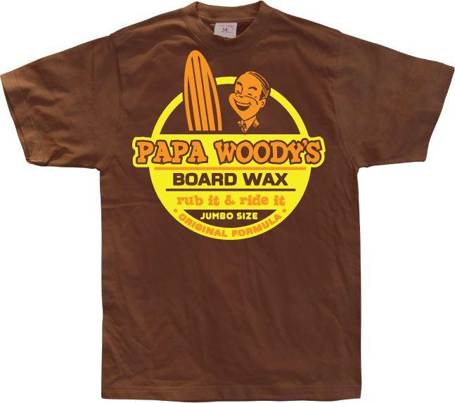 Stylové pánské triko s humorným potiskem Papa Woodys Board Wax