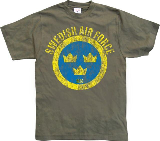 Stylové pánské triko s humorným potiskem Swedish Airforce Distressed