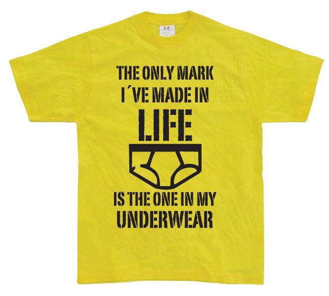 Stylové pánské triko s humorným potiskem The Only Mark I Made In Life...