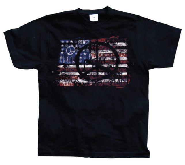 Stylové pánské triko s humorným potiskem USA Flag With Peace Symbols 53cc6e7e30