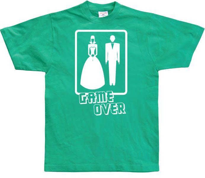 Stylové pánské triko s humorným potiskem Wedding - GAME OVER!