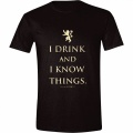 Game of Thrones Tričko I Drink And I Know Things Velikost L ČERNÉ