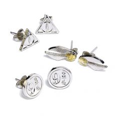Harry Potter Naušnice 3-Pack Snitch/Deathly Hallows/Platform 9 3/4 (silver plated)