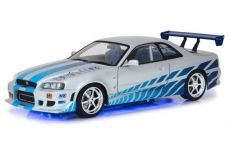 2 Fast 2 Furious Kov. Model 1/18 1999 Brians Nissan Skyline GT-R34 with Light-Up Function