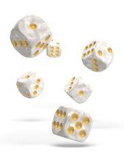 Oakie Doakie Dice D6 Dice 16 mm Marble - White (12)