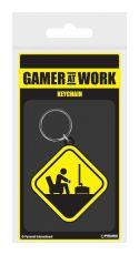 Gamer At Work Gumový Keychain Caution Sign 6 cm