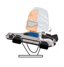 Back to the Future Pokis Gumový Minifigure Doc Brown & DeLorean 6 cm