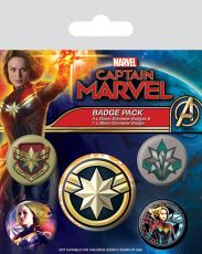 Captain Marvel Pin Placky 5-Pack Patches