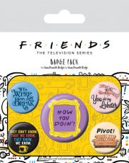 Friends Pin Placky 5-Pack Quotes