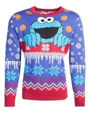 Sesame Street Knitted Christmas Mikina Cookie Monster Velikost M