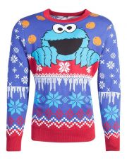 Sesame Street Knitted Christmas Mikina Cookie Monster Velikost L