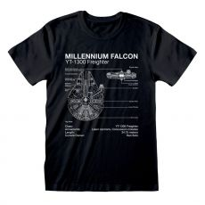 Star Wars Tričko Millenium Falcon Sketch Velikost M