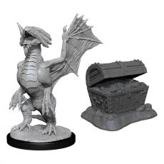 D&D Nolzur's Marvelous Miniatures Unpainted Bronze Dragon Wyrmling & Sea found Treasure Case (6)
