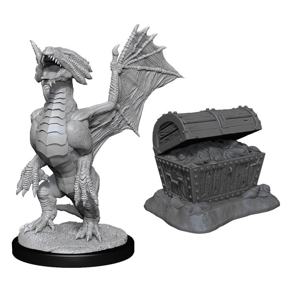D&D Nolzur's Marvelous Miniatures Unpainted Bronze Dragon Wyrmling & Sea found Treasure Case (6) Wizkids