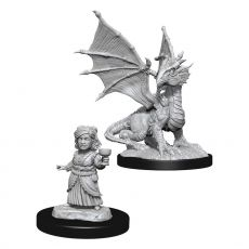 D&D Nolzur's Marvelous Miniatures Unpainted Silver Dragon Wyrmling & Female Halfling Case (6)