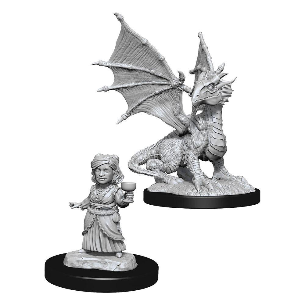 D&D Nolzur's Marvelous Miniatures Unpainted Silver Dragon Wyrmling & Female Halfling Case (6) Wizkids