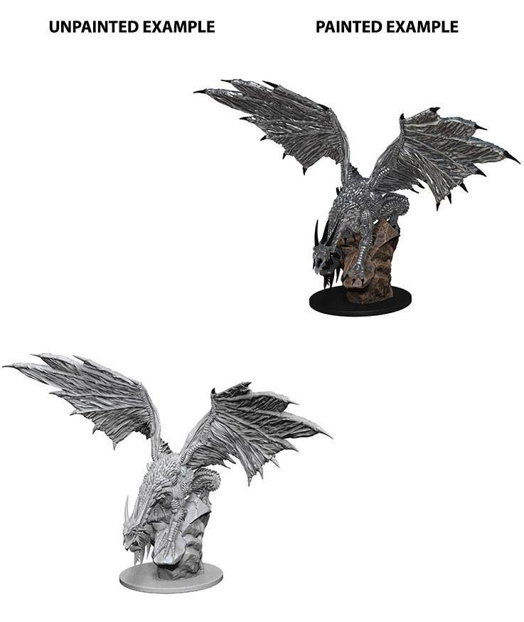 Pathfinder Battles Deep Cuts Unpainted Miniature Silver Dragon Case (6) Wizkids