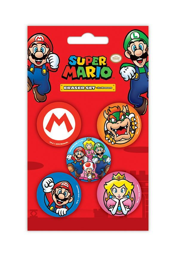 Super Mario Eraser 5-Pack Case (12) Pyramid International