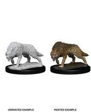 WizKids Deep Cuts Unpainted Miniature Timber Wolves Case (6)