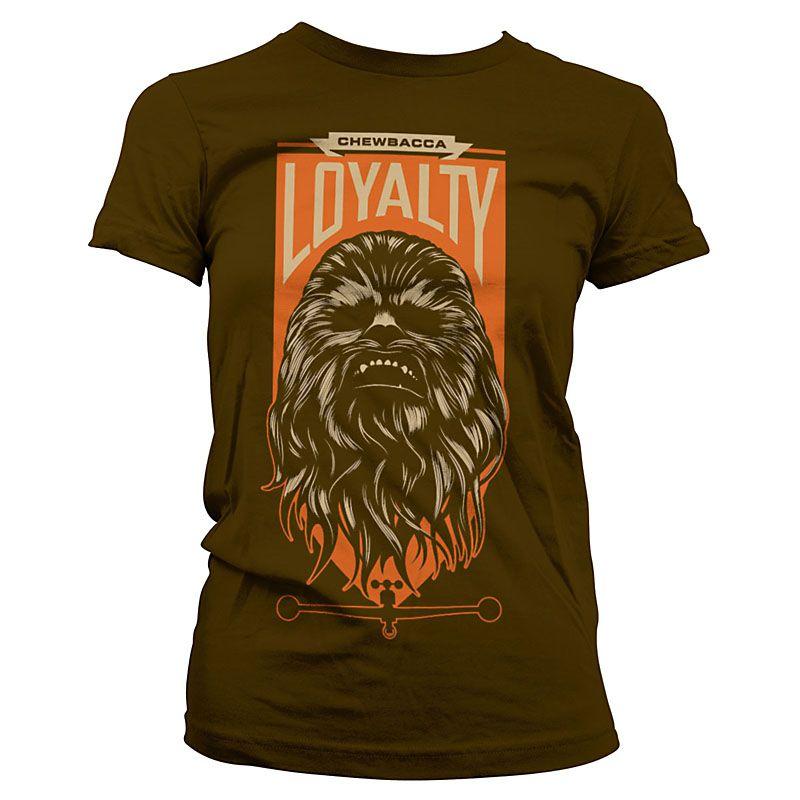 Hnědé dámské tričko Star Wars Episode VII Chewbacca Loyalty Licenced