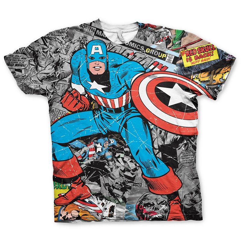 Marvel tričko s potiskem Captain America Comic Allover Licenced