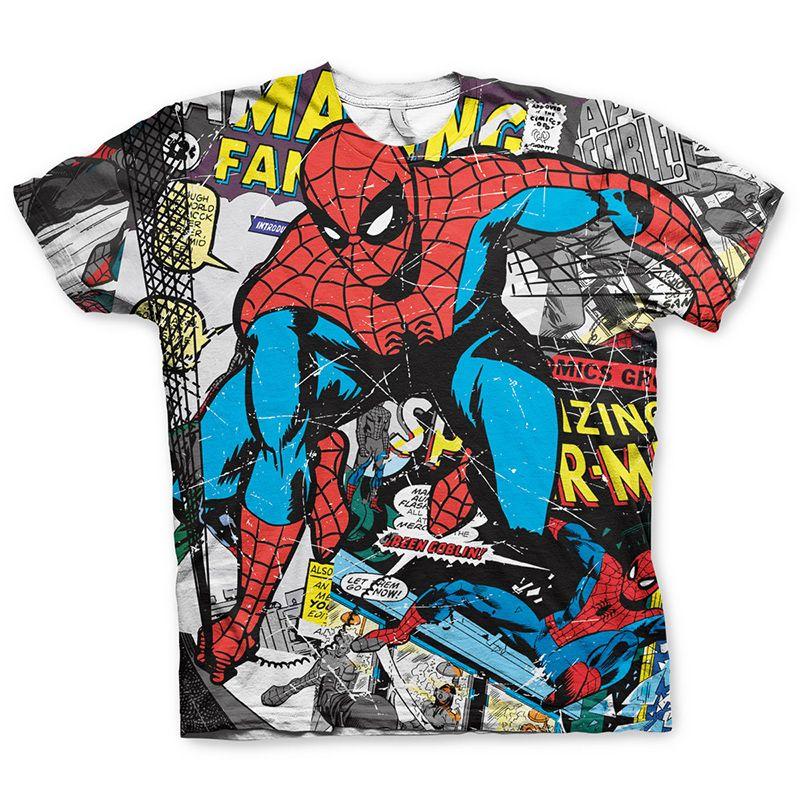 Tričko s potiskem Allover Spider-Man Comic Licenced