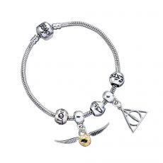 Harry Potter Náramek Talisman Set Deathly Hallows/Snitch/3 Spell Beads (silver plated)