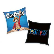 One Piece Polštář Logo & Monkey D. Luffy 40 x 40 cm