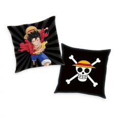 One Piece Polštář Skull & Monkey D. Luffy 40 x 40 cm