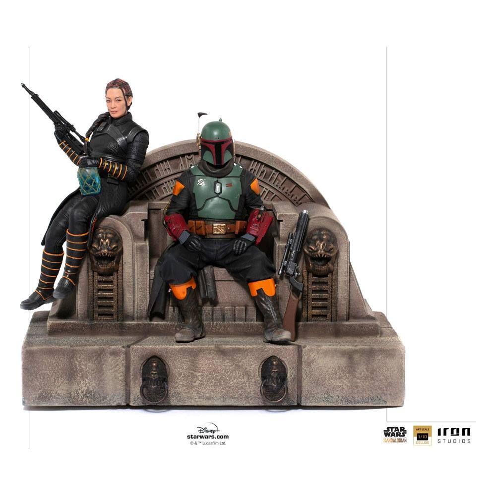 Star Wars The Mandalorian Deluxe Art Scale Soška 1/10 Boba Fett & Fennec on Throne 23 cm Iron Studios
