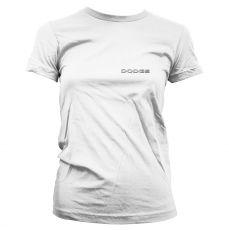 Bílé dámské tričko s potiskem Red Dodge Challenger Licenced