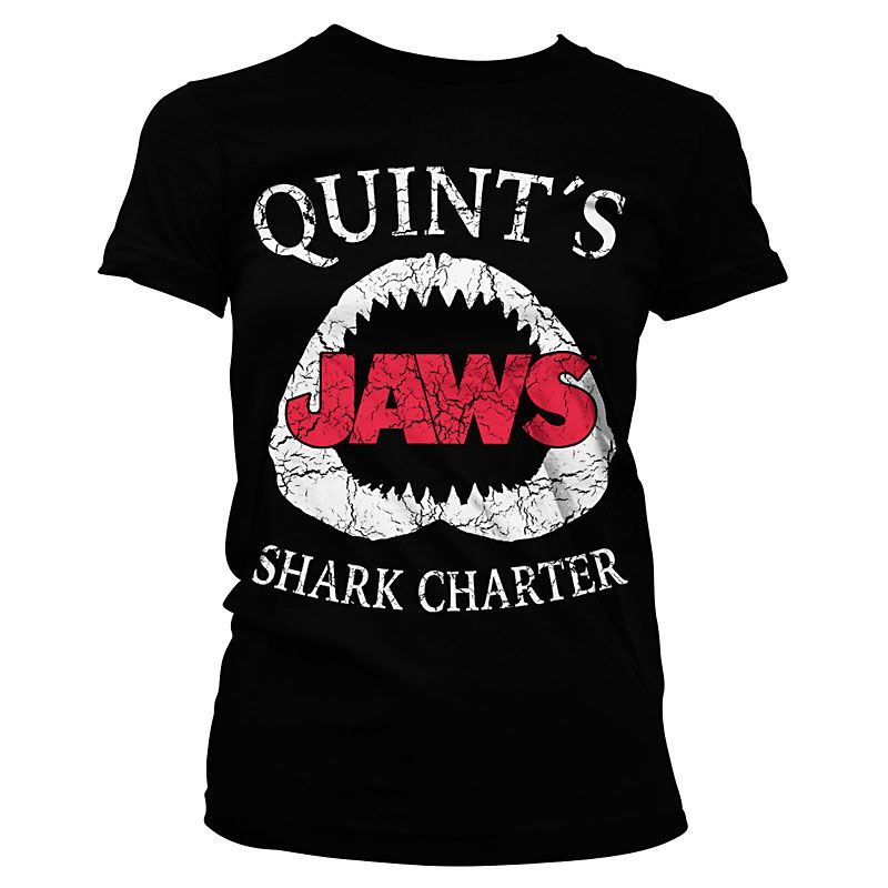 Čelisti dámské tričko s potiskem Jaws Quints Shark Charter Licenced